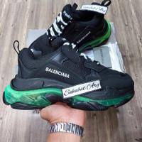 Sepatu Balenciaga Triple S Clear Sole Black Volt Neon