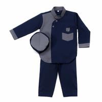 setelan baju Koko anak laki-laki Ridwan 1-5 Tahun / Baju Muslim anak - Abu dongker, 2