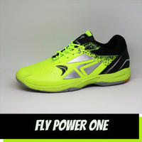 sepatu badminton pria fly pwr hijau hitam olahraga bulutangkis senam - 42