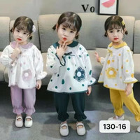 baju lebaran anak perempuan/ Polka Flower - Ungu, S