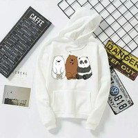 sweater wanita panda putih/suiter berbear jaket Hoodie murah panda