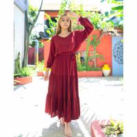 baju pantai bali dress maxi ruffle bumble bohemian (hijab friendly)