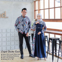 COUPLE Kaisha Gown Couple Batik Gamis Baju Lebaran Exclusive Real Pict