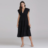 Wearstatuquo Troyes Embroidery V-neck Dress - Black