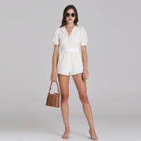 Wearstatuquo Dreux Embroidery Short Sleeve Jumpsuit - Broken White