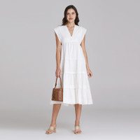 Wearstatuquo Troyes Embroidery V-neck Dress - White