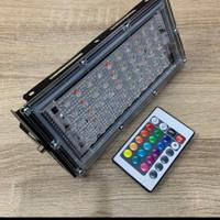 Lampu Sorot RGB Warna Warni 50 Watt 50W Slim Remote Outdoor Floodlight