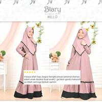 Baju gamis anak perempuan muslim syar'i lebaran umur 8-10 thn Btary