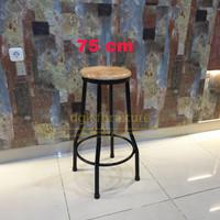 Kursi Bangku Bar Kayu Bulat Kaki Besi Aluminium Tinggi 75 cm Murah