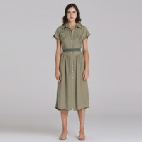 Wearstatuquo Versailles Embroidery Shirt Dress - Olive