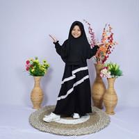 Baju Muslim Anak Perempuan 3 4 5 6 7 8 9 10 11 12 13 14 Tahun - Black, 3-4 tahun