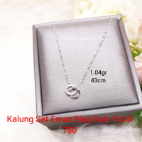 Kalung Emas Italy Set Ring Korean Simple Putih 750 Au / 17k