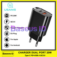 Usams Charger 20W iPhone QC PD Power Delivery 3.0 Fast Charging Apple