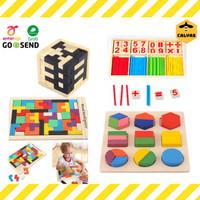 Mainan Puzzle Kayu Anak / Mainan Edukasi Balok Kayu Susun Motorik anak - Model Tetris