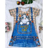 Dress anak perempuan baju anak cewek motif jumper kucing
