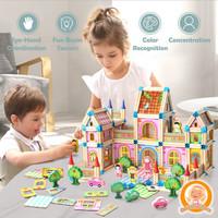 Mainan Edukasi Balok Bangunan - 128 pcs House Model Wooden Building Bl