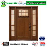KPD15 - Set kusen pintu utama jendela panjang pintu satu kayu mahoni