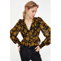 Atasan Wanita Blouse Import Premium Hitam Kuning Motif Bunga - S