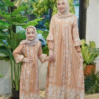 Gamis couple ibu dan anak Azka maxi motif/fashion muslim terbaru - salem