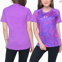 kaos sport wanita printing lengan pendek / baju olahraga cewek - Ungu, M