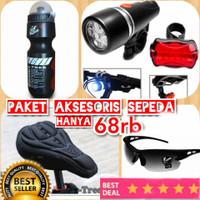 Paket Lampu Sepeda Sarung Jok Sepeda Kacamata Sepeda Botol Minum
