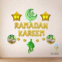 SET Ramadan Kareem Foil Balloon / Dekorasi Balon Lebaran Idul Fitri
