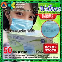 Masker 3Ply Medis Bedah 3 Ply Disposable Surgical Earloop Mask - WELLNESS EMBOSS
