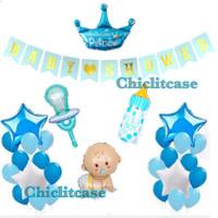 Set paket balon baby shower baby boy blue dekorasi pesta