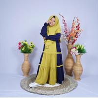 Baju Muslim Syari Anak Perempuan 3 4 5 6 7 8 9 10 11 12 13 14 Tahun - Navy Lemon, 3-4 tahun