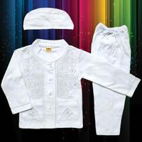 Baju Muslim Koko Anak Laki-Laki (1-3 Tahun) Setelan Set Peci LY13-2
