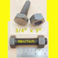 Baut Mur Hex Hexagon Besi Hitam 3/4 x 3 Kunci 28 Drat Kasar 3/4x3