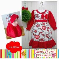 Baju Muslim Anak Perempuan Gamis Umur 5-7 Tahun Motif Hello Kitty - L