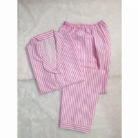 Baju Tidur Piyama Wanita Lengan Pendek Katun Jepang Salur - Merah Muda, L