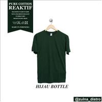 baju kaos polos distro bandung GREEN BOTTLE - hijau botol, S