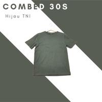 Kaos Polos Katun Combed 30s Hijau TNI / Army Premium Soft - M