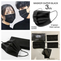 Masker 3 Ply Hitam isi 50 Pcs - Tanpa Box