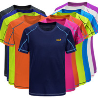 Kaos Olahraga Polos/T-Shirt Bahan Dry Fit Kaos Pria Lengan Pendek