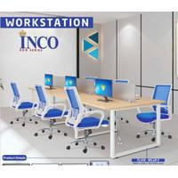 meja kantor meja kerja partisi kaca indachi inco fluix 6 orang