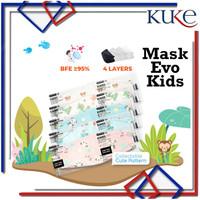 Disposable Mask EVO Anak Motif KN95 / Masker Kesehatan Wajah Kids 4ply