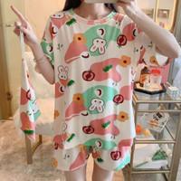 Baju tidur wanita piyama import stelan HP kaos big size //HP CR RABBIT