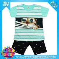 Bubblekidzid Kaos / Baju Setelan Anak Perempuan Motif Kucing Salur