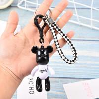GK03 Aksesoris Tas Gantungan Kunci Import Boneka Bear Hitam Putih 3D