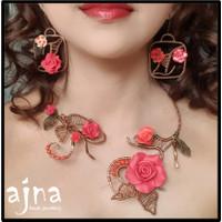 Anting Etnik Cantik Non Korea - Clay Bunga Mawar Merah