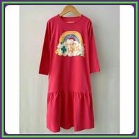 Gamis Dress Kaos Sablon Baju Ngaji Busana Muslim Anak Perempuan 2-8Thn