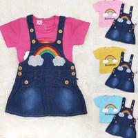 Dress Overall Baju Kodok Jeans Anak Perempuan Rainbow