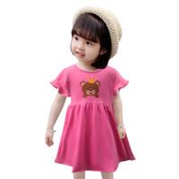 Two Mix Dress Anak Bahan Kaos Katun Motif Beruang Lucu 4145