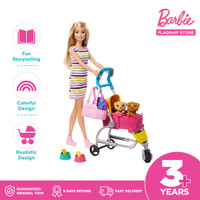 Barbie Stroll n Play Pups Doll and Playset - Mainan Boneka Anak