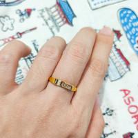 cincin signet permata request nama elegant emas asli