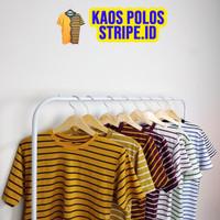 (10 warna) Baju Kaos Stripe Salur Belang Pria Wanita Catton CVC Pendek