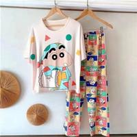 Baju tidur wanita piyama import stelan CP kaos big size //CP SHINCHAN